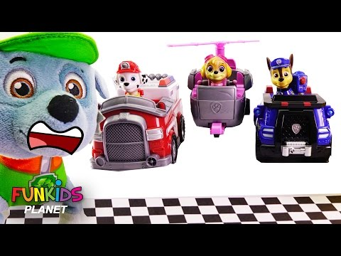 Learn Colors Videos For Children: Paw Patrol Marshall & Skye Police and Fire Truck Race Preschool