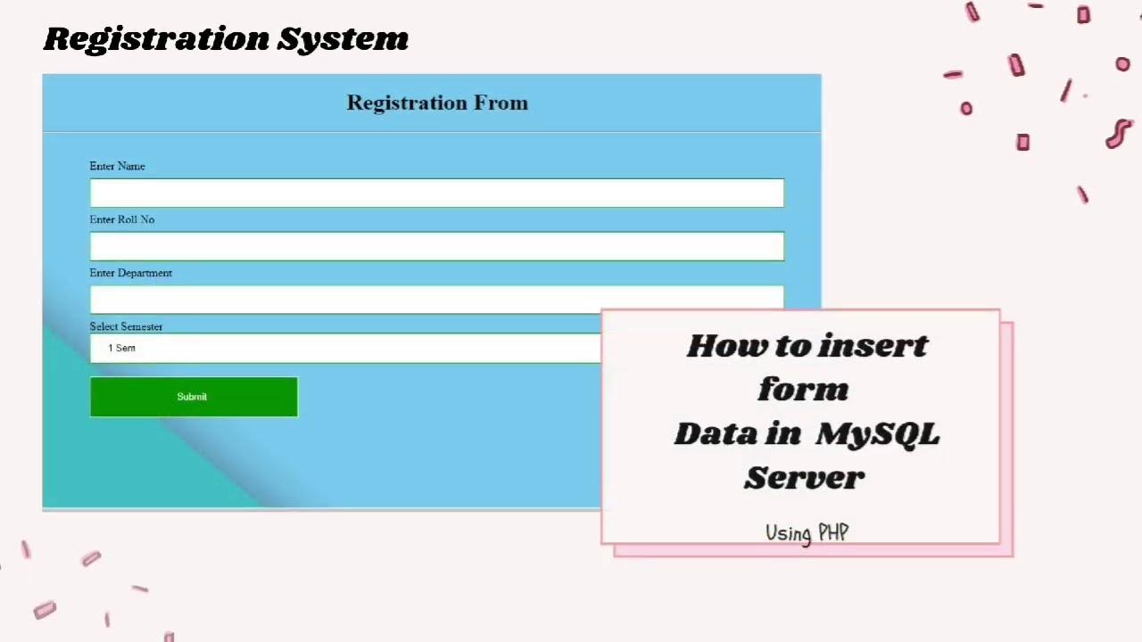 Insert form data into MySQl database using php | Php mysql