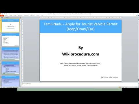 Chennai - Apply for Tourist Vehicle Permit (Jeep/Omni/Car)