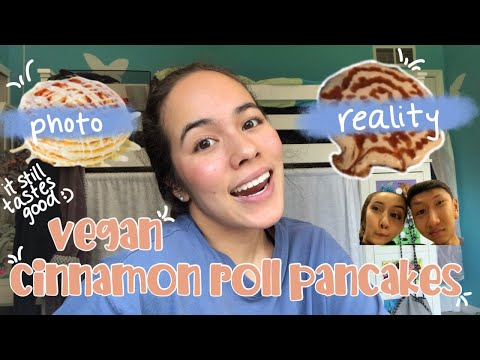 making cinnamon roll pancakes (vegan) // they taste like normal people food! :D