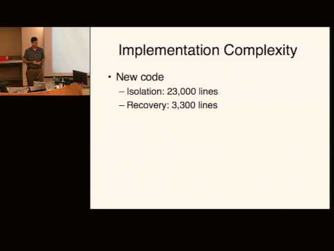 r | p 2006: Improving the Reliability of Commodity Operating Systems - Michael Swift