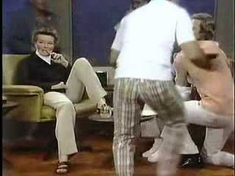 Katharine Hepburn rearranges the furniture on Dick Cavett