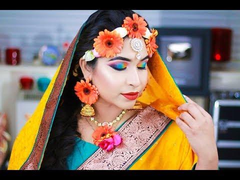 Bengali Gaye Holud Haldi Night Asian Bridal Makeup Tutorial