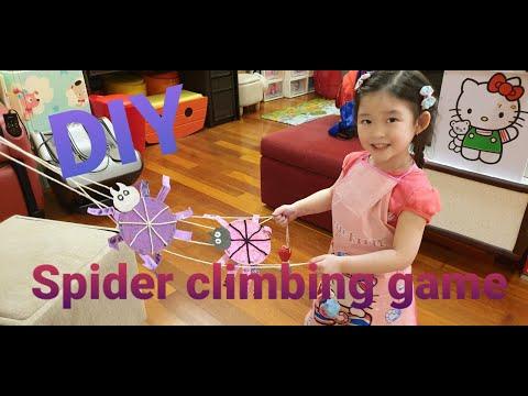 Kids DIY Veronica DIY how to make spider climbing game. Home art & craft. |
