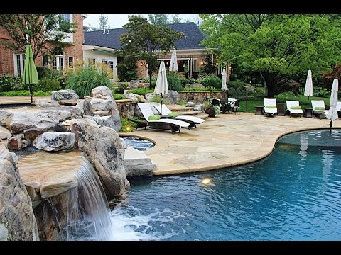backyards landscapes with natural stone patio designs - youtube - Natural Stone Patio Designs