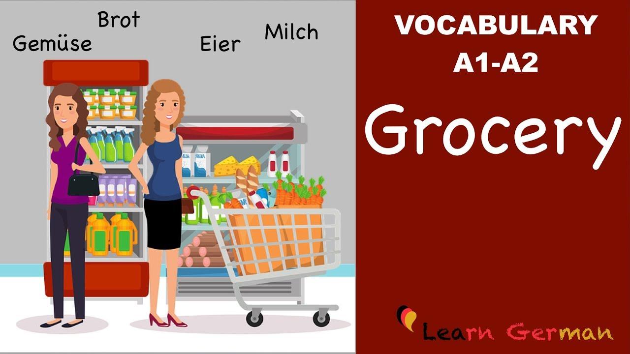 Learn German Vocabulary | 25 useful Food items in everyday life |  Lebensmittel