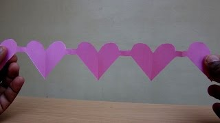 How to Make a Paper Heart Chain(Valentine