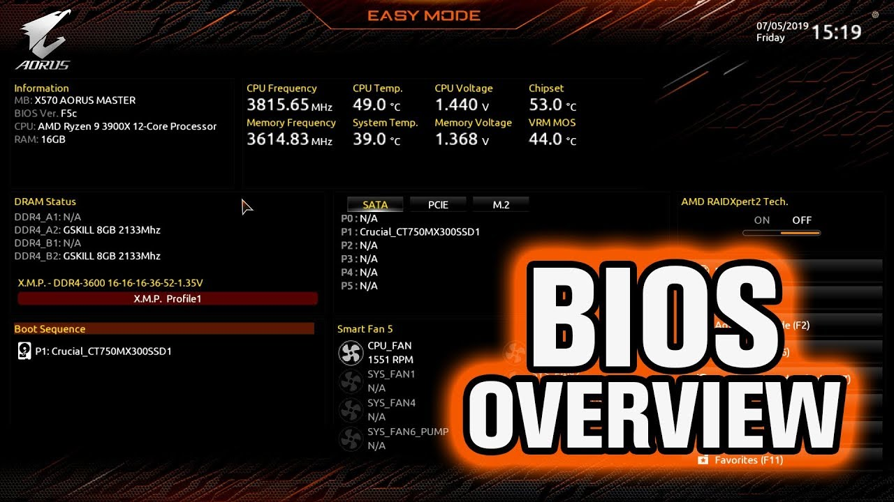 Gigabyte X570 AORUS Master BIOS Overview