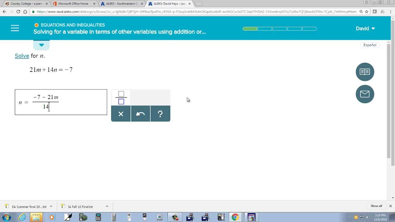 College Algebra - ALEKS - Question - 12/6