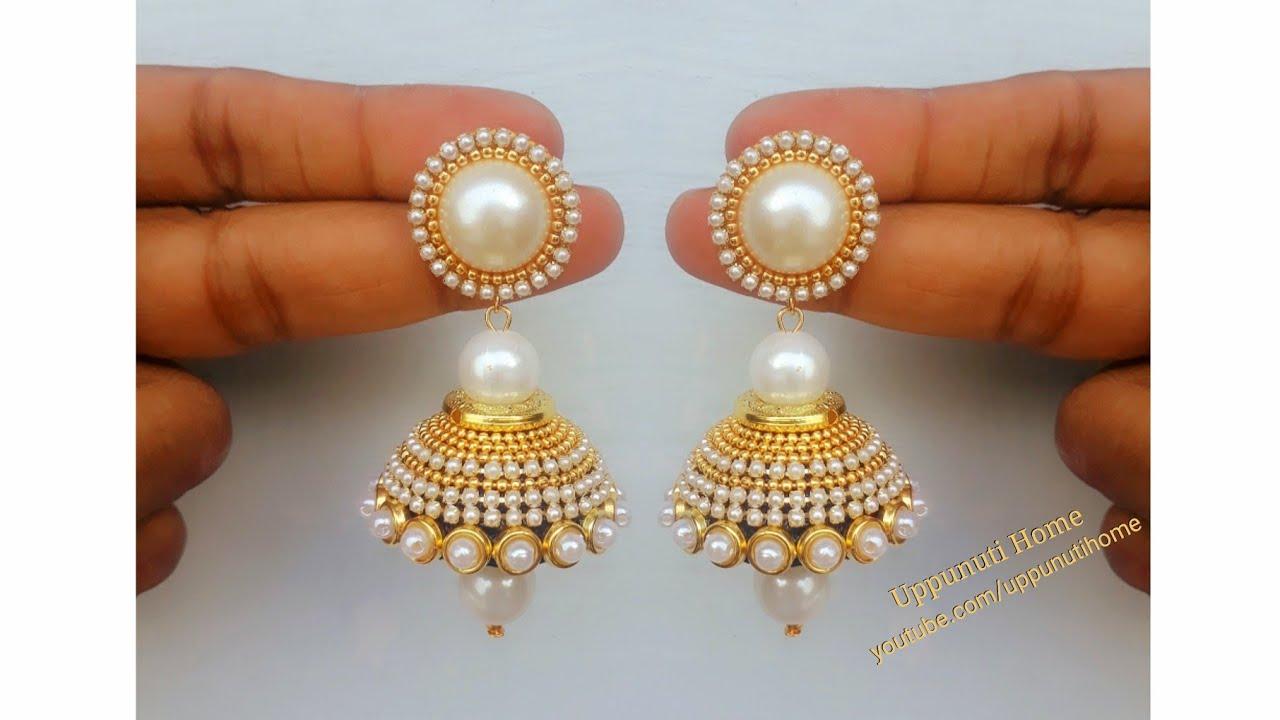 9d854d9e5dc How Make Beautiful Silk Thread Pearl Drop Earrings At Home | DIY | Silk  Thread Jhumkas Making