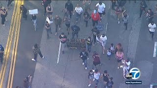 Black Lives Matter demonstrators march through downtown LA in protest of George Floyd death | ABC7