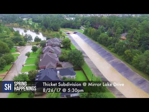 Spring, Texas Creek Conditions 8/26/17 at 5pm. Aerial from SpringHappenings.com