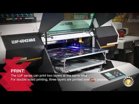 Mimaki UJF-6042 printing in action at Mimaki USA  Colors have never