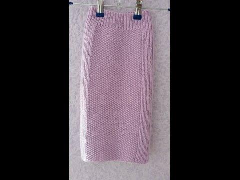 Прямая юбка спицами для девочки