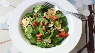 Hot Bacon Dressing on New Years Beans & Greens Spinach Salad