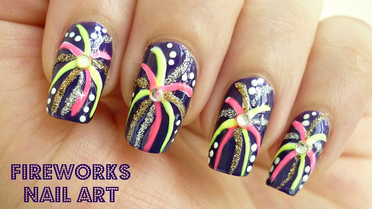 Bright colorful fireworks nail art youtube prinsesfo Gallery
