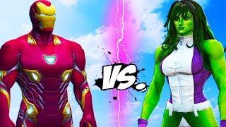 IRON MAN vs She HULK - Epic Battle
