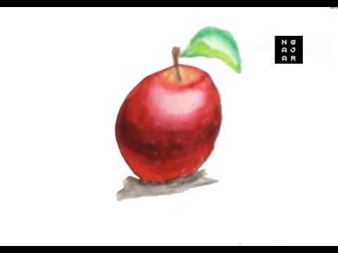Menggambar Dan Mewarnai Buah Apel Dengan Crayon Youtube