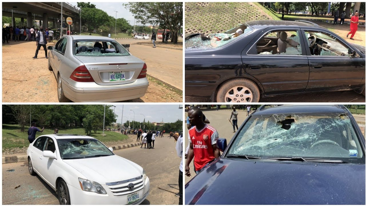 BREAKING: A'rmed Thu'gs Att@ck Abuja #end'sars Protesters, Destroy Cars (video)