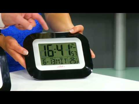 infactory wand tisch funkuhr mit weckfunktion temperaturanzeige youtube. Black Bedroom Furniture Sets. Home Design Ideas