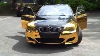 Bmw m5 золотая зеркальная пленка gold chrome(Bmw m5 золотая зеркальная пленка gold chrome., 2013-03-25T14:04:39.000Z)