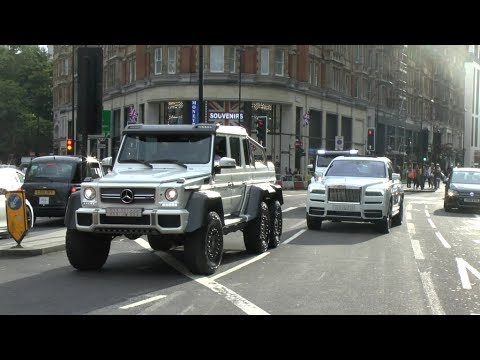 Saudi Businessman Driving His SUV Convoy In London - G6X6, Cullinan, G500!!