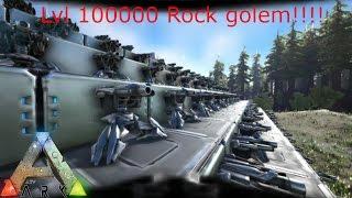 Ark: 120 Tek Turrets vs lvl 100000!!! Rock Golem!!!!