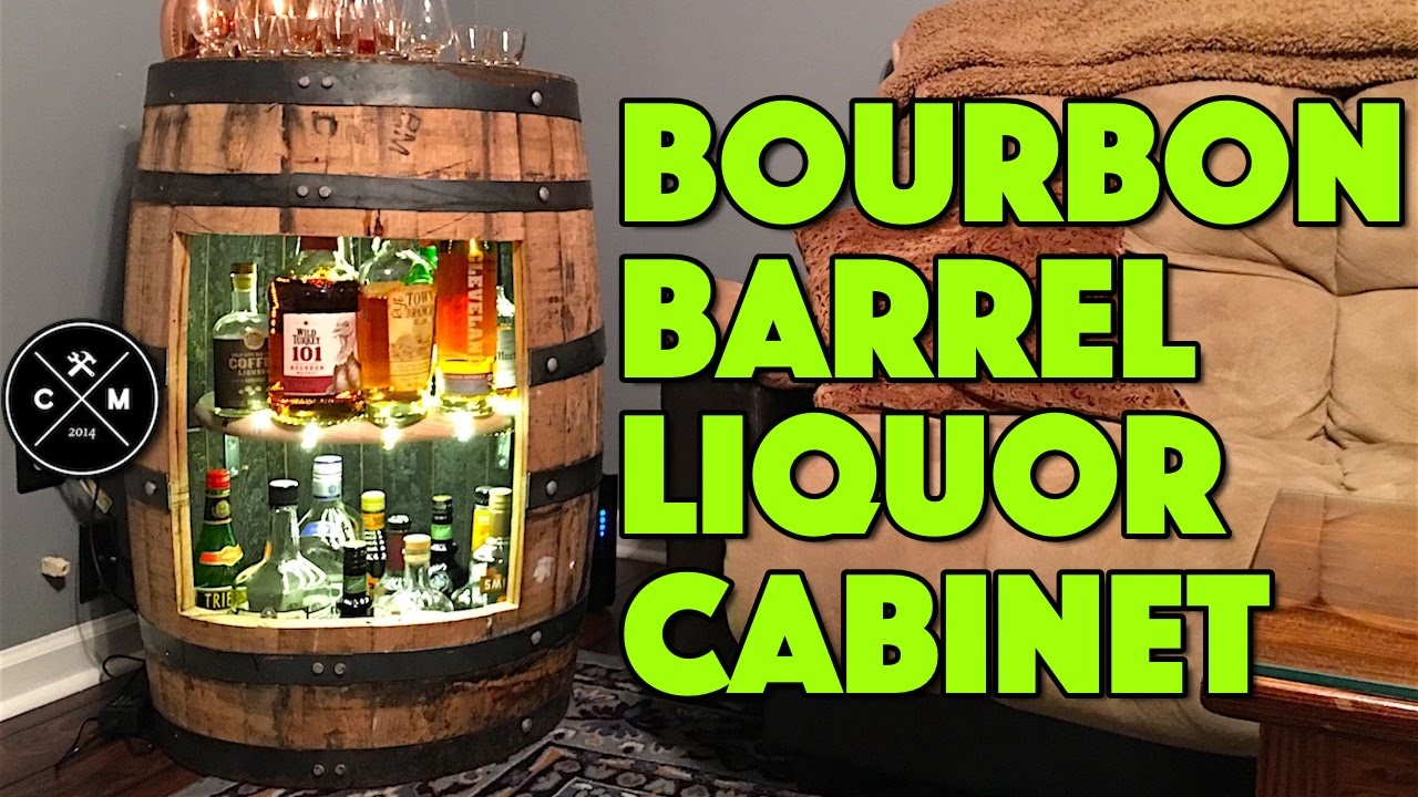 how to build a bourbon whiskey or wine barrel liquor cabinet woodworking diy crafted workshop youtube