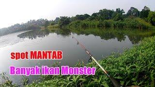 berburu ikan nila monster pakai pancing jaring/spring bomb net