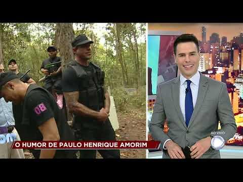 """Paulo Henrique Amorim nos bastidores do quadro humorístico """"Bofe de Elite"""""""