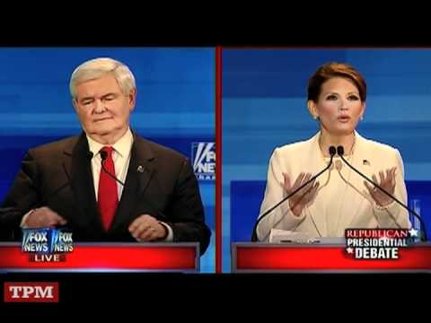 Michele Bachmann Gets Under Newt Gingrich's Skin At Iowa GOP Debate