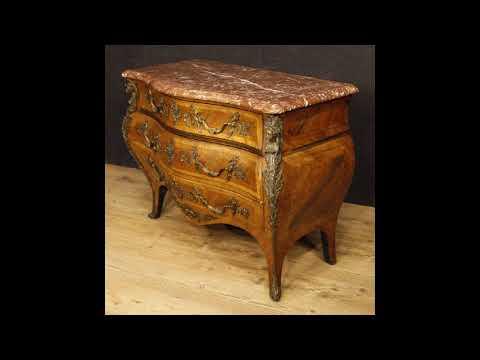 Comò francese con piano in marmo e bronzi in stile Luigi XV - YouTube
