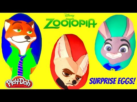 Disney ZOOTOPIA Giant Play Doh Surprise Eggs - Nick Wilde Judy Hopps Finnick Mystery Minis  Toys