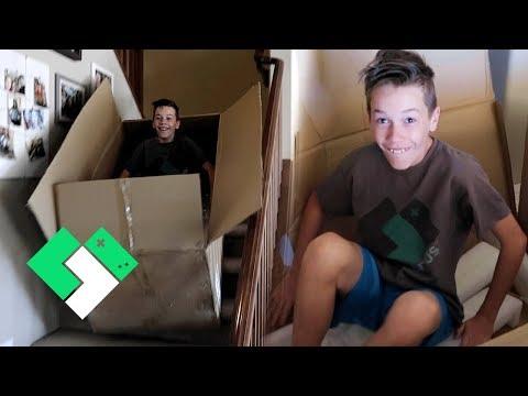 Big Box Slide Down The Stairs! | Clintus.tv