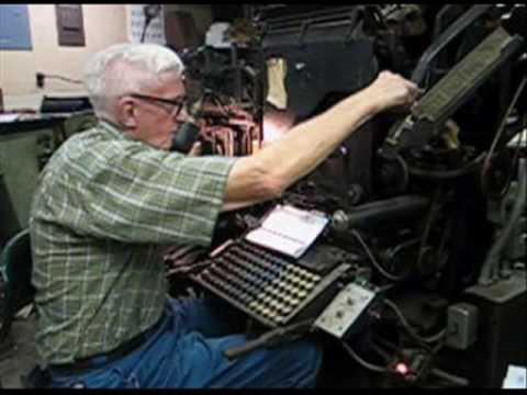 Eldon Meeks runs a Linotype machine