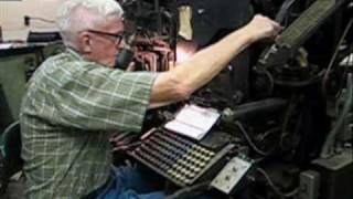 Eldon Meeks runs a Linotype machine