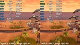 Athlon 200GE Vega 3 vs. Ryzen 3 2200GE Vega 8 in 8 Games. Gaming Benchmark Test Comparison