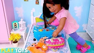 American Girl Packing Doll Clothes in Suitcase for Vacation in Dolls Bedroom!