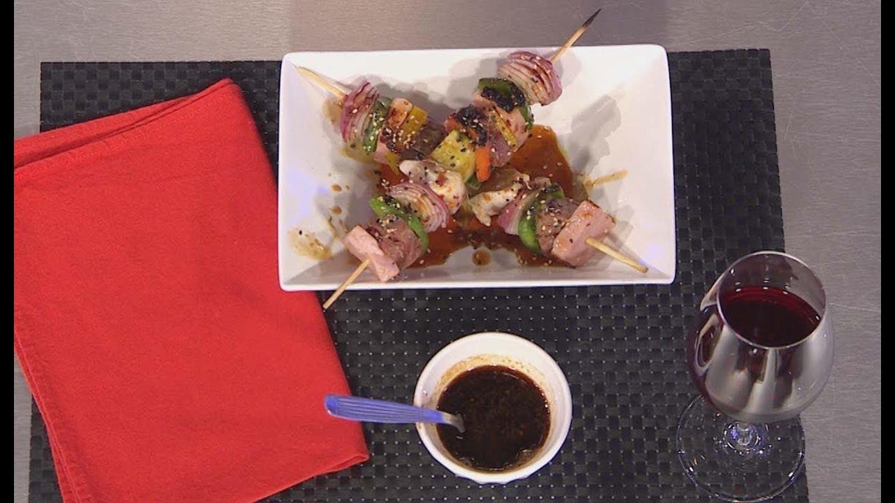 Pinchos agridulces de lomo y pollo - Cucinare