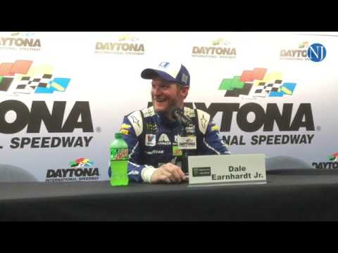 Dale Earnhardt Jr. faces the press after winning the pole for the Coke Zero 400