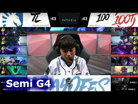 100 Thieves vs Team Liquid | Game 4 Semi Finals S8 NA LCS Summer 2018 | 100 vs TL G4