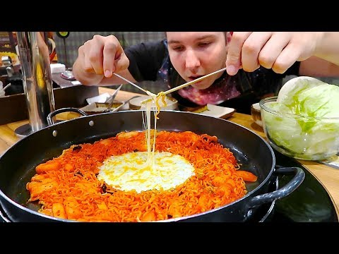 Giant Cheese Fondue  • Korean Spicy Fire Noodle Wheel • MUKB