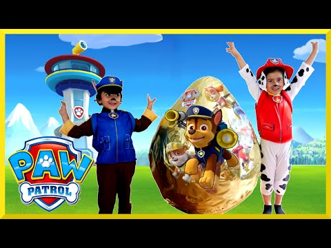 PAW PATROL TOYS Nickelodeon GIANT EGG SURPRISE OPENING Power Wheels Kids Video