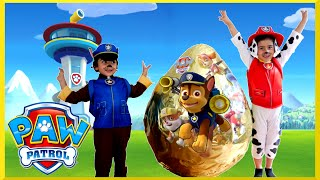 PAW PATROL TOYS Nickelodeon GIANT EGG SURPRISE OPENING Power Wheels Kids Video(GIANT PAW PATROL SURPRISE EGG! Playtime with Maya & Evan while opening up a super mega giant golden egg surprise with PAW PATROL surprise toys!, 2015-08-27T11:00:00.000Z)