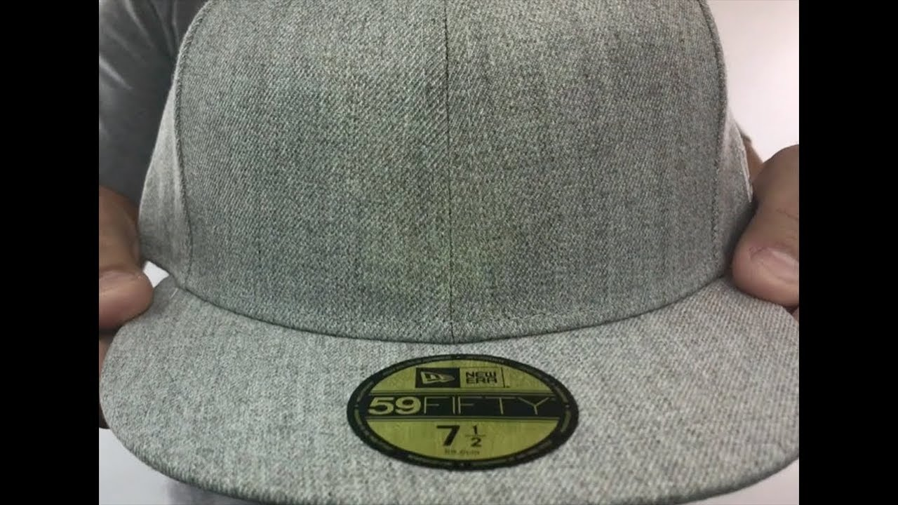New Era  59FIFTY-BLANK  Heather Light Grey Fitted Hat - YouTube 482a2231f8b3