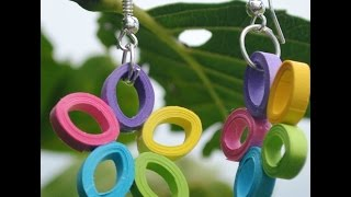 Craft Can Heal How to make simple&trendy multi colour paper quilling earrings||party wear jewellery