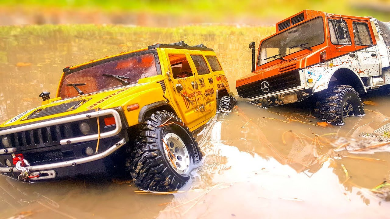 RC MUD Car Racing and Puddle Racing - HUMMER H2 - Axial SCX10 vs Unimog - Traxxas TRX4 | Wilimovich