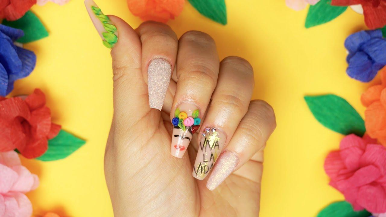 How to Frida Kahlo Acrylic Nails   5 de Mayo ♥ - YouTube
