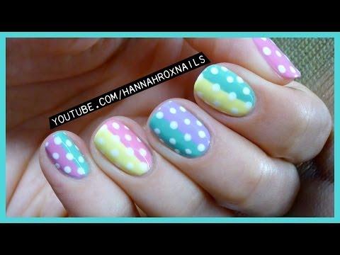 Cute Pastel Spring Polka Dot Nail Art