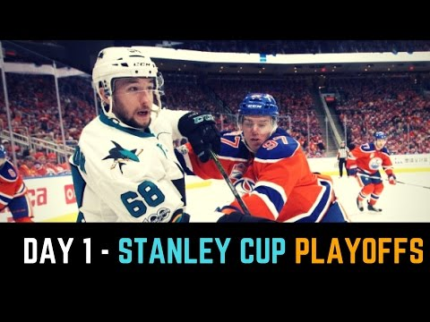NHL Stanley Cup Playoffs Round 1 Recap April 12 2017 | Sharks and Blues Win Game 1 in OT!